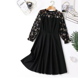 麗質達人 -11615黑色印花蕾絲假二件洋裝