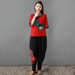 【艾洛妃】中國風棉麻花朵刺繡口袋拼接寬版褲裝 (2色任選)