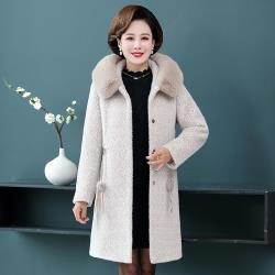 【艾洛妃】優雅翻絨領修身顯瘦植毛絨保暖大衣 (2色任選)