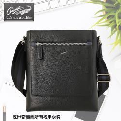 (crocodile)專櫃品牌 牛皮直式斜背包/側背包/商務包(09201黑色牛皮)