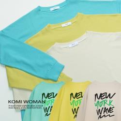 【KOMI】紐約文字長版棉上衣‧三色 (2021-212991)