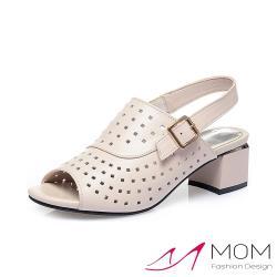 【MOM】真皮質感牛皮縷空方孔一字帶粗跟涼鞋 米