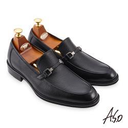 A.S.O-職場通勤 勁步雙核心柔軟金屬皮扣樂福鞋-黑