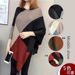 【A3】甜美氣質 披肩流蘇針織斗篷蝙蝠罩衫 -預購