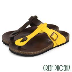 GREEN PHOENIX 皮帶扣T字夾腳平底拖鞋U60-28129