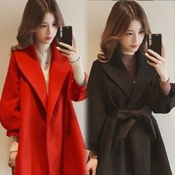 【K.W.韓國】 (現貨) 甜美名媛燈籠袖收腰顯瘦毛呢外套