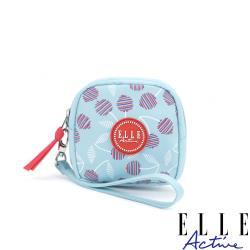 【ELLE Active】法式櫻桃系列-零錢包-淺藍色