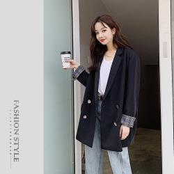 【GF 快時尚】簡約格紋反摺袖翻領西裝外套 (S~XL)
