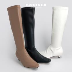Robinlo 完美比例人氣百搭素面顯瘦襪靴長靴ATKINS-黑/白/可可