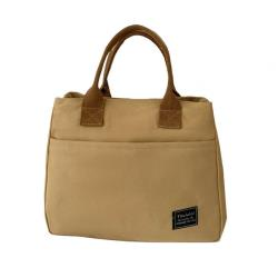 【LOVE BAG】現+預 森女系多格層單肩手提帆布包-3色