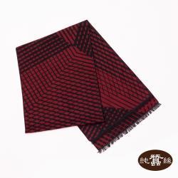 【岱妮蠶絲】純蠶絲保暖刷毛圍巾-紅菱格紋(PYG0ZA01)