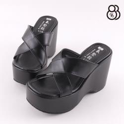 【88%】舒適減震氣墊 前4.5後10CM涼鞋 MIT台灣製 休閒百搭交叉寬帶方頭涼拖鞋 皮革楔形厚底