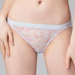 思薇爾 花蕾系列M-XL蕾絲低腰三角內褲(月白藍)
