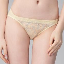 思薇爾 花蕾系列M-XL蕾絲低腰三角內褲(茴香黃)