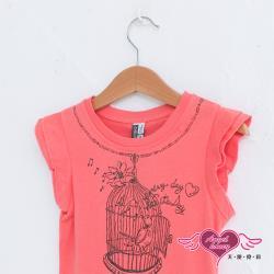 天使霓裳-童裝 小鳥唱歌 卡通圖案 兒童無袖背心 中童 女童 (橘色) 12320209-16