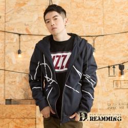 【Dreamming】翻玩幾何線條高彈絲休閒連帽外套(共二色)