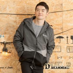 【Dreamming】帥氣漸層拼色高彈絲休閒連帽外套(共二色)