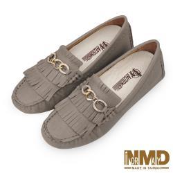 【Normady 諾曼地】知性OL輕熟女氣質流蘇磁石增高真皮豆豆鞋-MIT手工鞋(奶茶米棕)