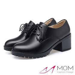 【MOM】真皮細緻牛皮舒適繫帶防水台高跟休閒鞋 黑