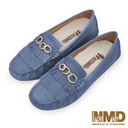 【Normady 諾曼地】知性OL輕熟女氣質流蘇磁石增高真皮豆豆鞋-MIT手工鞋(莫蘭迪藍)