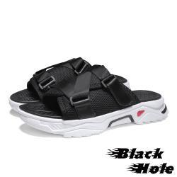 【Black Hole】潮流撞色織帶拼接造型百搭休閒拖鞋 黑
