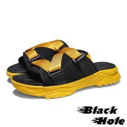 【Black Hole】潮流撞色織帶拼接造型百搭休閒拖鞋 黃