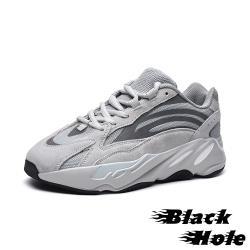 【Black Hole】真皮復古異材質流線拼接反光飾條個性造型大底厚底老爹鞋 淺灰