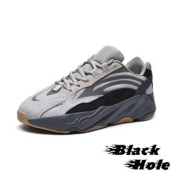 【Black Hole】真皮復古異材質流線拼接反光飾條個性造型大底厚底老爹鞋 深灰