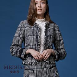 現貨【MEDUSA 曼度莎】小香風藍格毛邊毛呢外套夾克