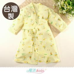 魔法Baby 嬰兒長袍 台灣製秋冬厚款純棉護手和服長睡袍~b0323
