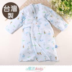 魔法Baby 嬰兒長袍 台灣製秋冬厚款純棉護手和服長睡袍~b0322