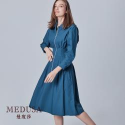 現貨【MEDUSA 曼度莎】時尚金屬拉鏈半開襟純棉洋裝