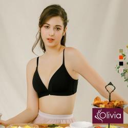 Olivia【曖昧系列-馬卡龍戀人】蜜糖簡約零著感一片式內衣-黑