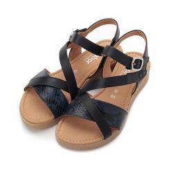 德國 GABOR 蛇紋條帶麻跟涼鞋 深藍 42.743.66 女鞋