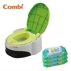 日本Combi 優質坐式分段訓練便器 贈濕巾