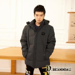 【Dreamming】韓版NY保暖厚鋪棉長版連帽外套(共二色)