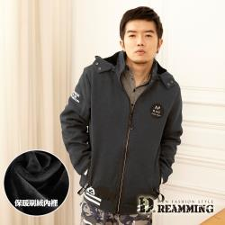 【Dreamming】時尚圓標AP保暖刷絨連帽外套(共二色)