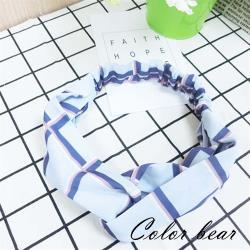 【卡樂熊】雪紡線條交錯造型髮帶(天空藍)
