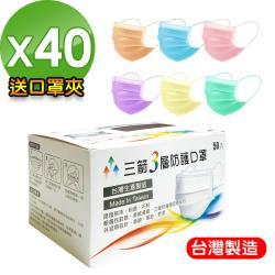【三箭】台灣製造3層防護口罩-成人(6色可選)-40盒(整箱)