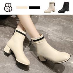 【88%】5.5CM方頭粗跟短靴 百搭拼接皮革後拉鍊襪靴