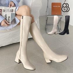 【88%】6CM皮革方頭長靴 百搭素面 筒高40CM側拉鍊粗跟靴