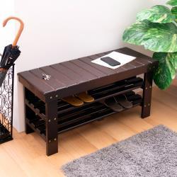 AS-胡桃色雙層坐放置鞋架/穿鞋椅DIY-88x32x43cm