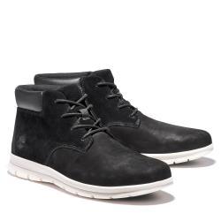 Timberland 男款黑色磨砂革防潑水休閒中筒靴A23VT001
