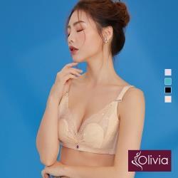 【Olivia】無鋼圈柔軟裸紗超薄不露點蕾絲內衣-膚色
