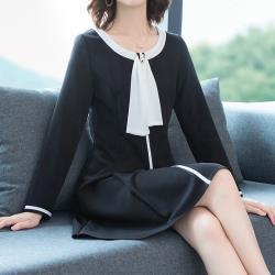 麗質達人 - 20628黑色假二件洋裝