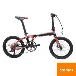 COSMOS FD-Z1 全碳纖維車架20吋9速碟煞折疊單車/小折-鈦黑紅