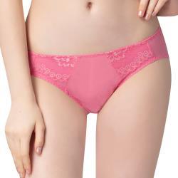 思薇爾 花萃系列M-XL蕾絲低腰三角內褲(迷戀粉)