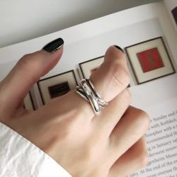 梨花HaNA 泰銀復古寬層粗獷開口戒指