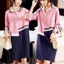 麗質達人 - 7170粉色拼接假二件洋裝