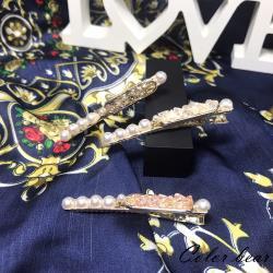 【卡樂熊】水晶珍珠造型髮夾(三色)